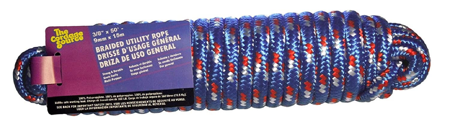 Cordage Source 268S-WA Braided Poly Derby Rope 3//8-Inch by 50-Feet