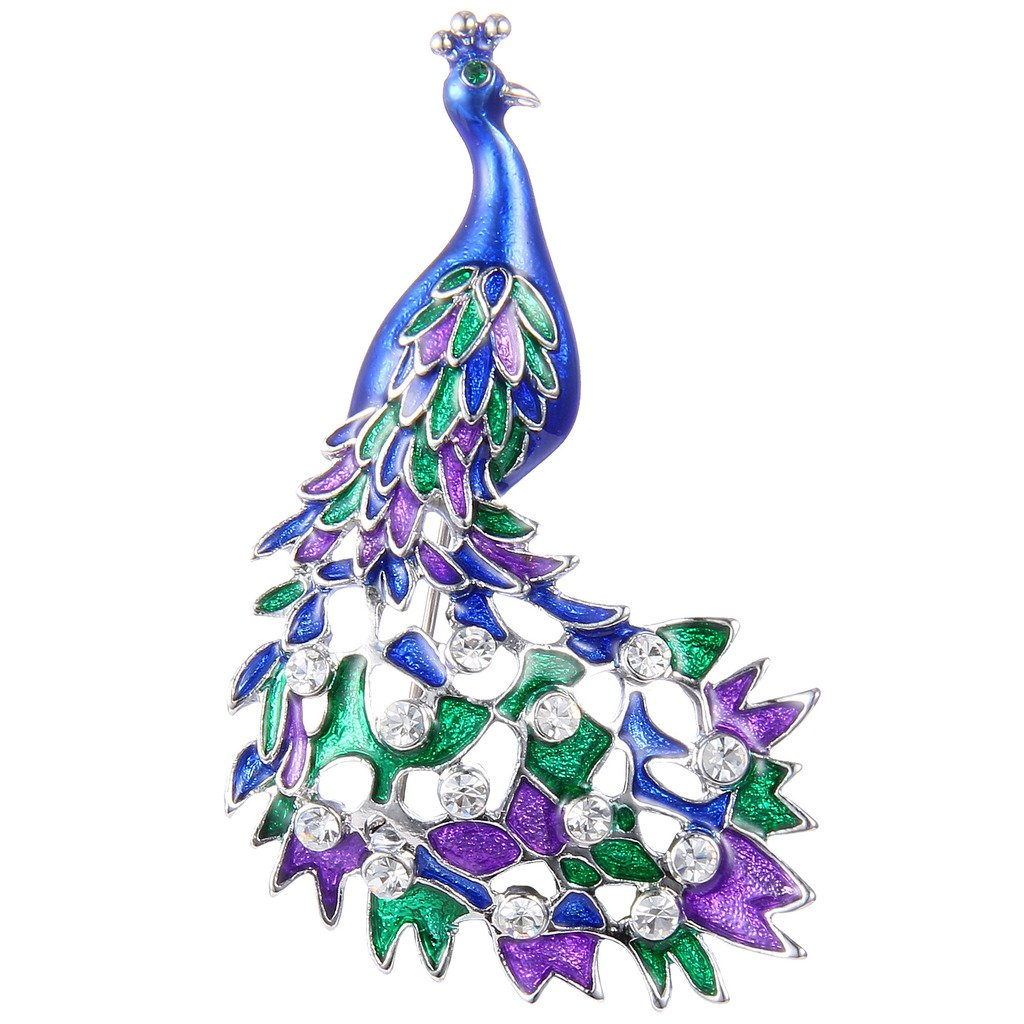 Ever Faith Silver-Tone Austrian Crystal Enamel Cocky Peacock Bird Brooch Clear N07774-1