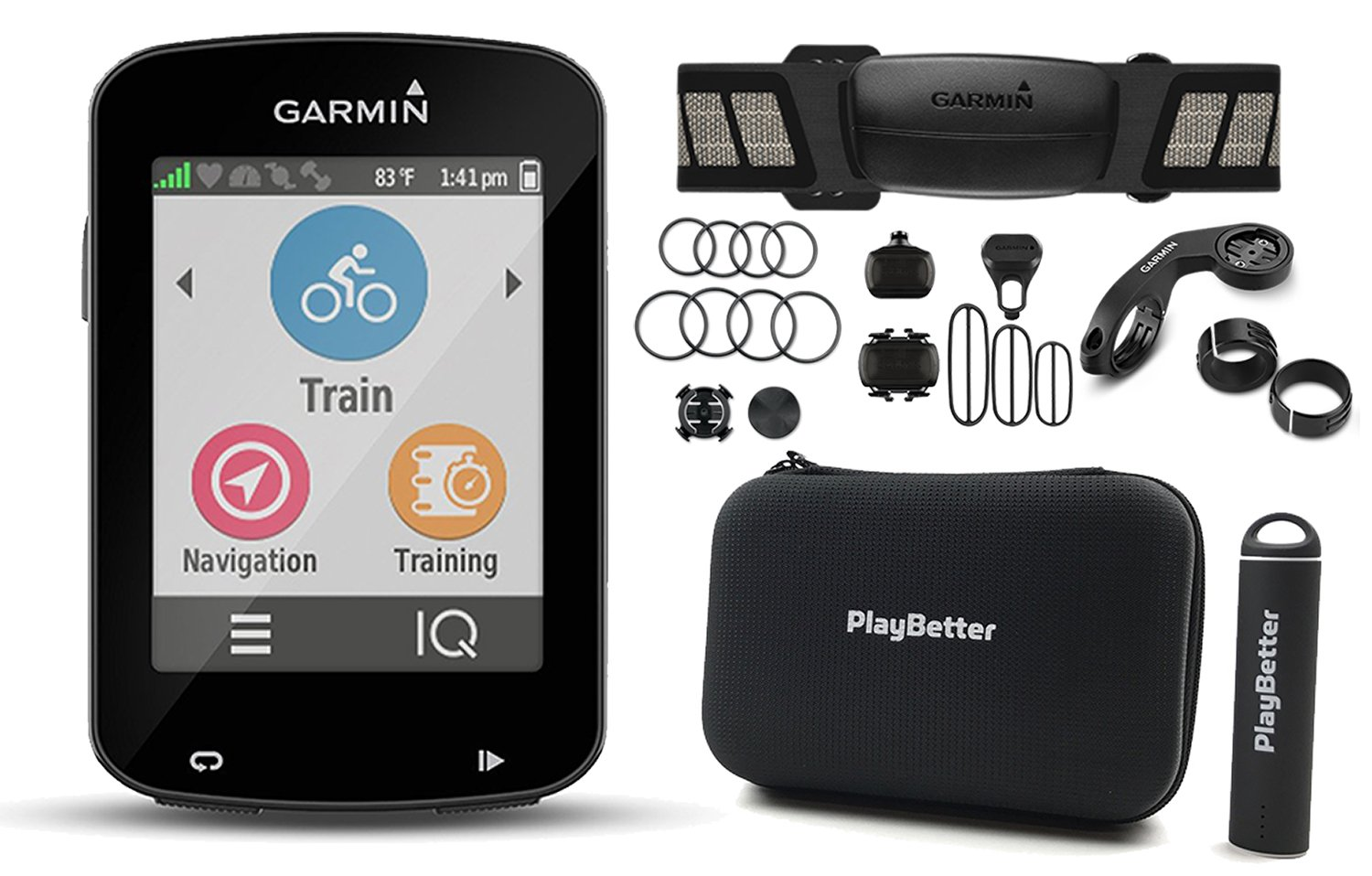 Garmin Edge 820 CYCLE BUNDLE with Garmin Chest Strap HRM, Cadence & Speed Sensors, PlayBetter Portable USB Charger & Hard Carrying Case, Bike Mounts, USB Cable | Touchscreen Display, GPS Bike Computer