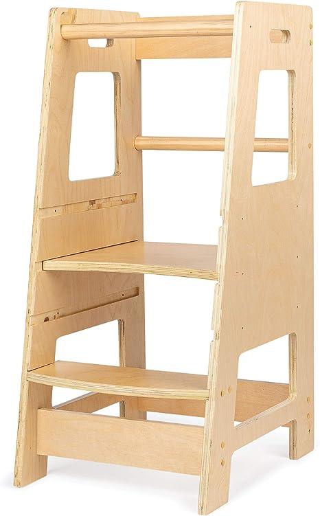 KidzWerks Torre de pie para niños – Taburete de cocina para niños con plataforma ajustable – Torre de pie de madera Montessori – Taburete para niños: Amazon.es: Hogar
