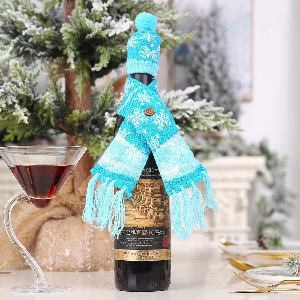 NiceButy 1/Ensemble de Bouteille de vin Wrap Coque Th/ème de No/ël en Tricot Pull avec Antler Chapeau Robe de Bouteilles de vin de Table D/écor