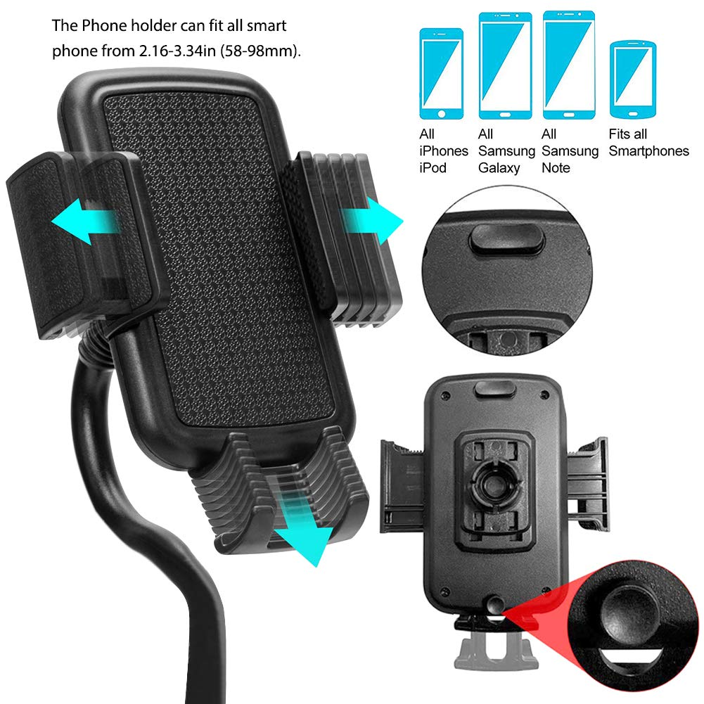 Cup Phone Holder for Car, Adjustable Portable Cup Holder Phone Mount with Gooseneck for iPhone Huawei Samsung Galaxy Google Pixel and More Cell Phone