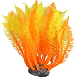 Uxcell Silicone Fish Tank Manmade Water Plant Ornament, Orange/Yellow