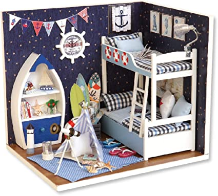 Flever Dollhouse Miniature DIY House Kit Creative Room With Furniture and Cover for Romantic Artwork Gift-Face The Sky