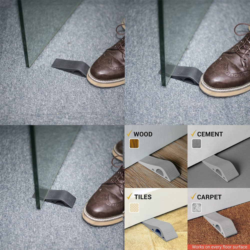 Flexible Decorative Door Stopper Easily Wedges Door for Heavy Duty Door Acko Rubber Door Stop with Bonus Holders Gray Pack of 3