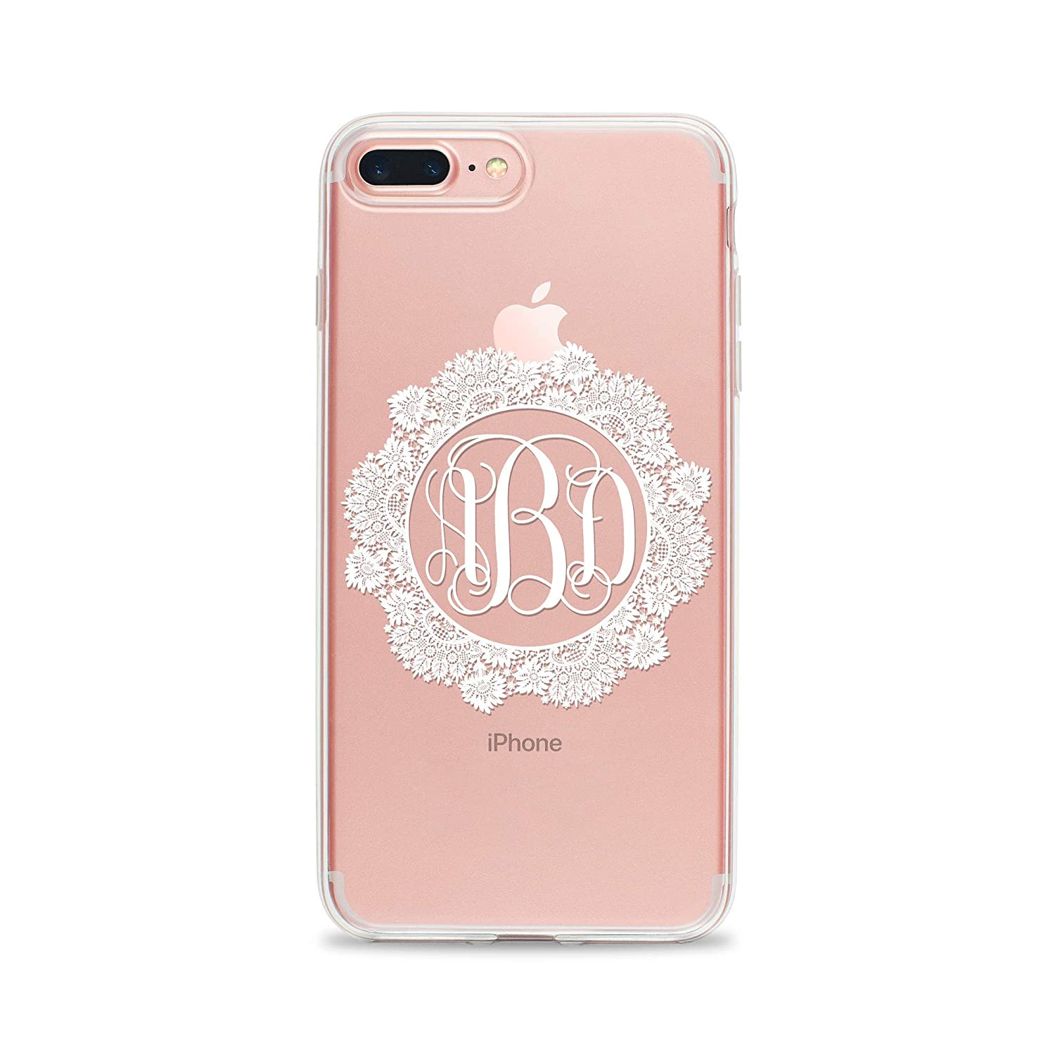 Clear Phone Case with Monogram for iPhone XS X 10 8 Plus 7 6s 6 SE 5s 5 Samsung Galaxy S9 S8 S7 edge S6 Romantic Lace Print Personalized Custom Initials