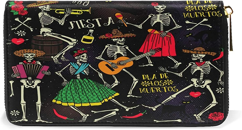 Womens Wallets Zipper Real Leather Clutch Purse Skeleton Sugar Skull Handbag