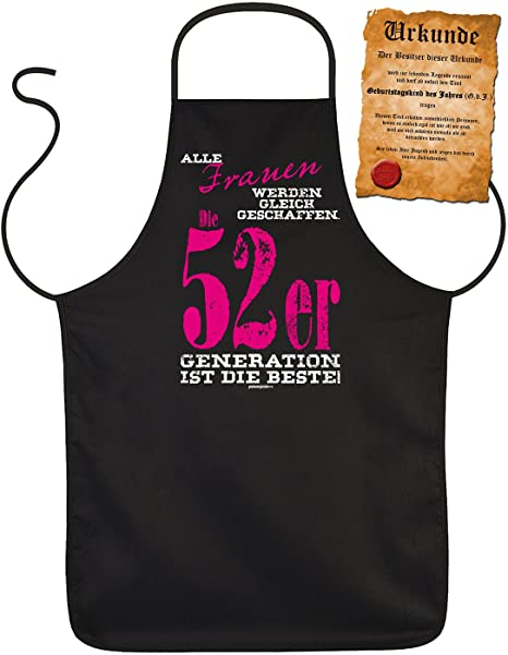 65th Birthday Gift Apron With Certificate Women 52 65 Generation Design Years