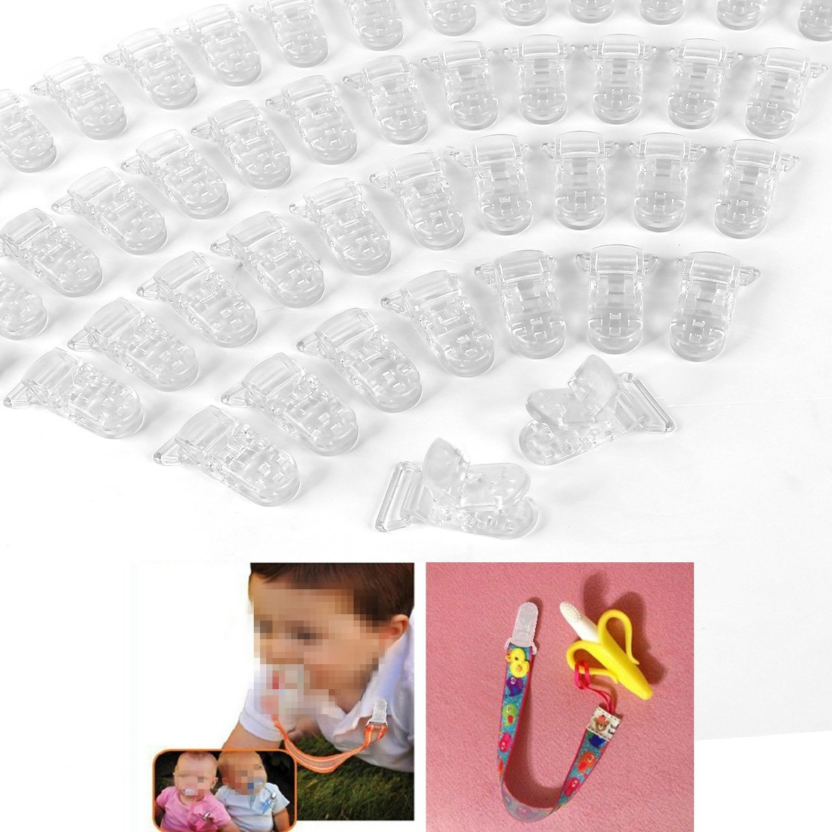 50pcs KAM Pince /à sucette bretelle attache clip plastique transparent