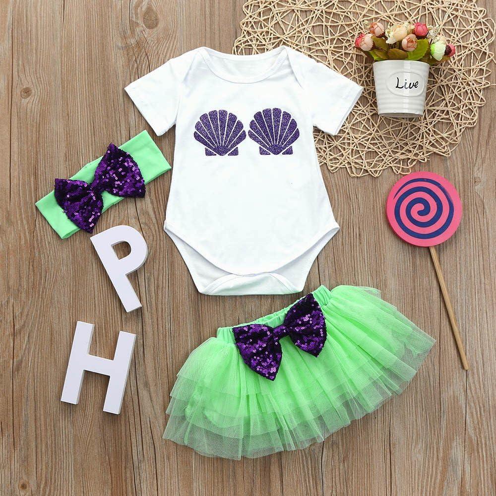 Sequins Bowknot Tutu Skirt+Headband Fenleo Toddler Baby Girls Outfit Set Shell Print Short Sleeve Romper