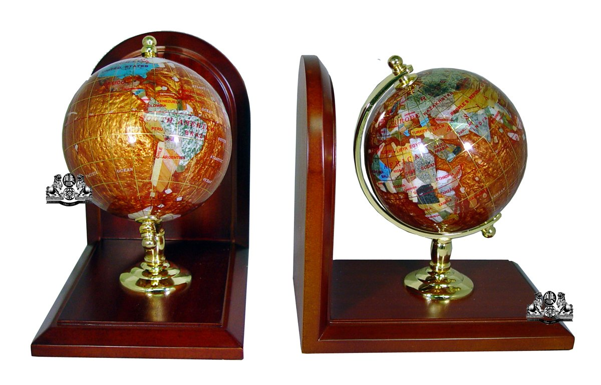 Unique Art 7-Inch Tall Pair of Amberlite Swirl Pearl Ocean Gemstone World Globe Bookends
