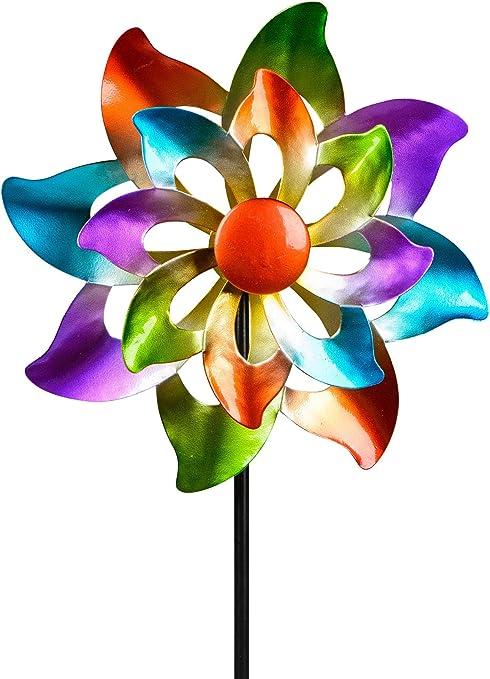 dekojohnson - Molino de viento para el jardín de metal, diseño de flores, doble molino de viento, color lila, azul, rojo y verde, 110 cm grande: Amazon.es: Jardín