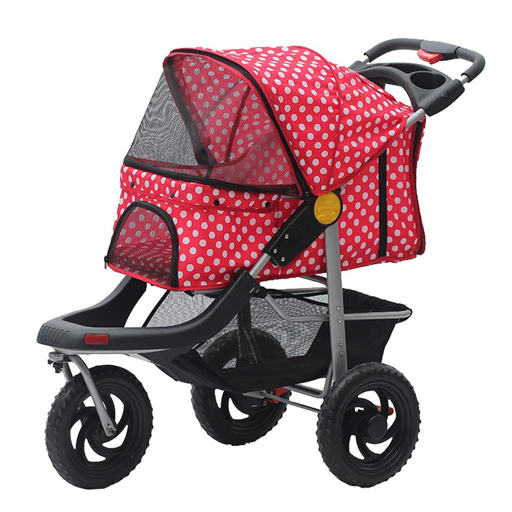 A Jlxl Pet Stroller Three Wheeled Dog One Handed Car Sunscreen Rainproof Foldable (color   A)