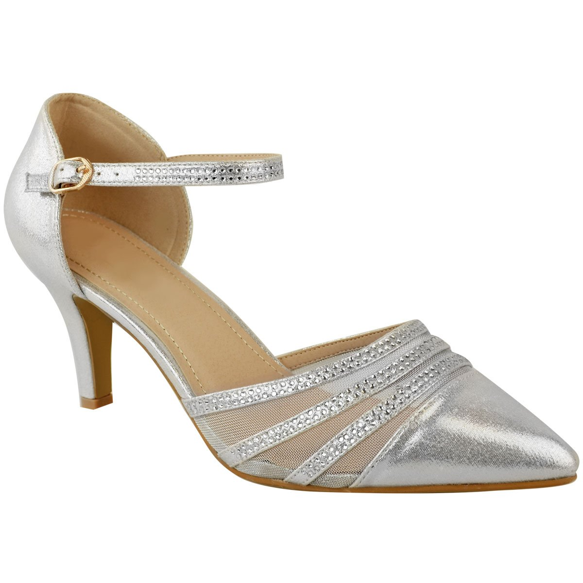 Fashion Thirsty Womens Plus Large Size Wedding Mid Heel Shoes Sandals Diamante Party Size 12