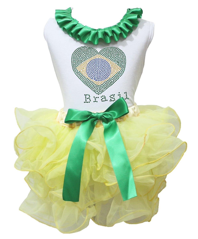 Petitebella Soccer Theme Brazil Heart White Shirt Yellow Petal Skirt Set 1-8y