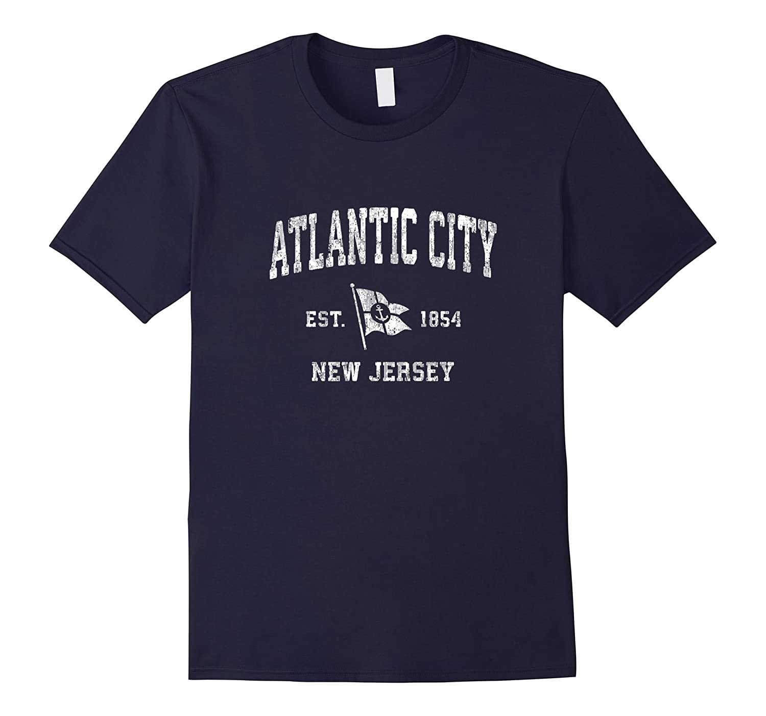 Atlantic City New Jersey NJ Vintage Boat Anchor Flag Tee-FL