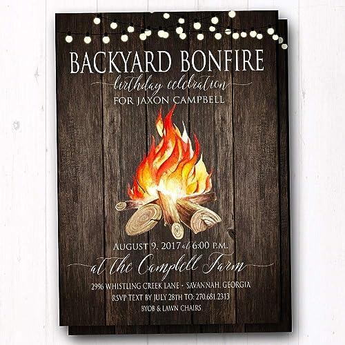 amazon com backyard bonfire invitations set of 20 invites w