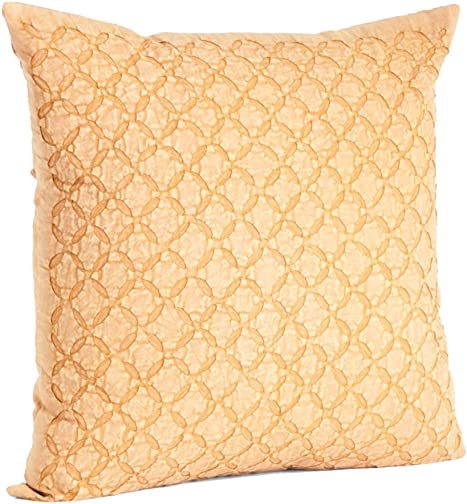 fenncostyles.com Appliqu Sheeting Nirali Down Filled Throw Pillow Butterscotch