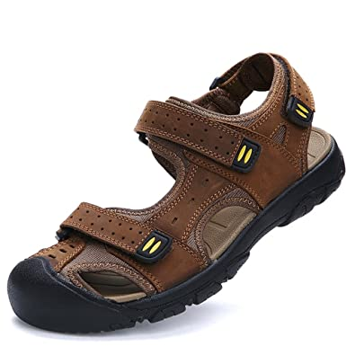 Meijili Men's Leather Sandals Beach Shoes Casual Summer Outdoor Sports Sandals Brown UK 12 AugVdNm5