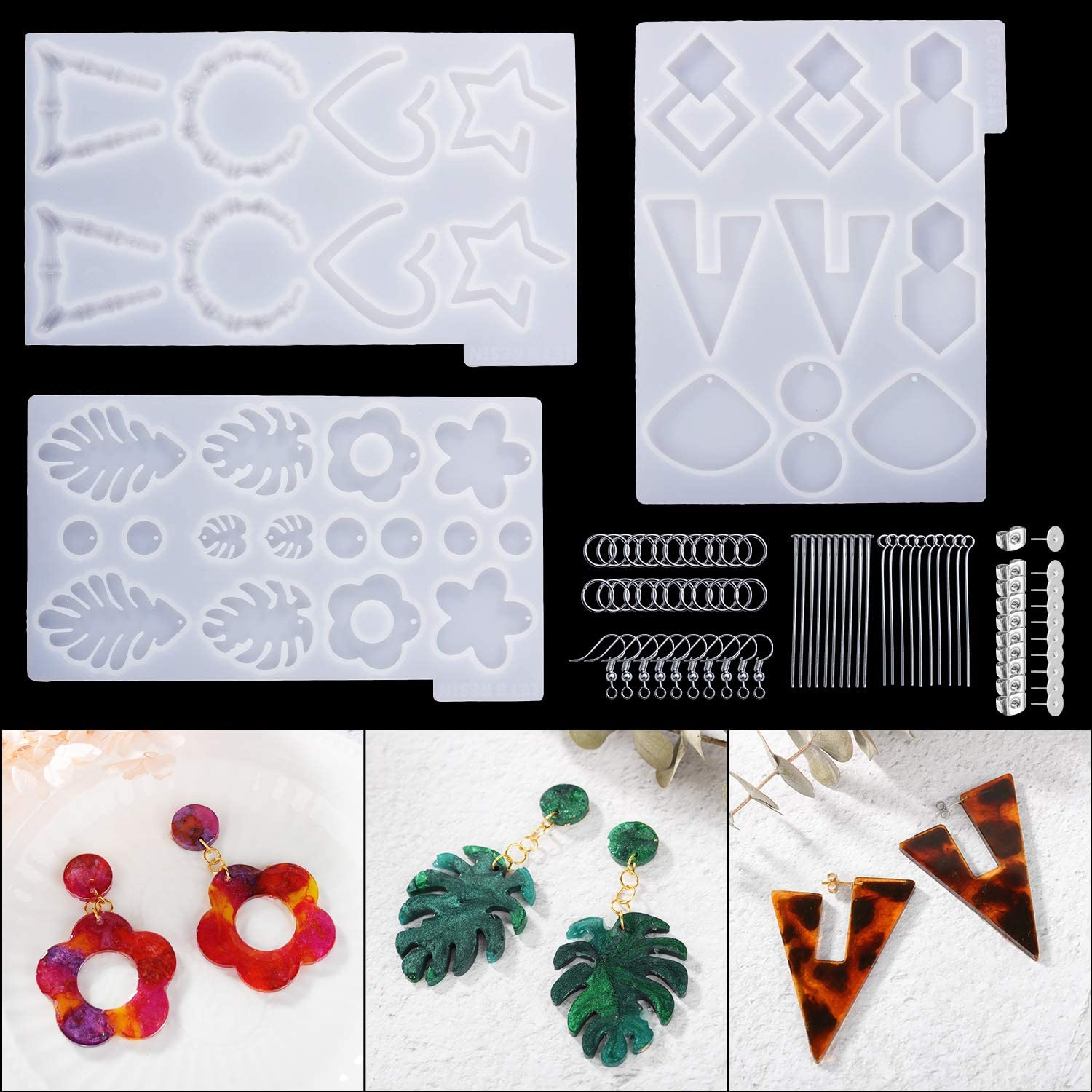 Resin Casting Mold Kit for Jewellery Making DIY Craft Silicone Moulds Epoxy Earring Resin Molds Gifts for Women Girls Pack of 8 Include Earring Hooks, Jump Rings,Eye Pins