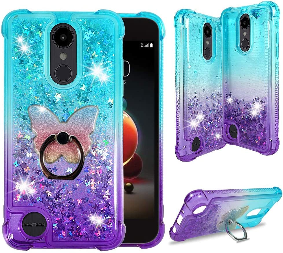 LG Stylo 3 Case, LG Stylo 3 Plus Protective Clear Liquid Waterfall Case [Liquid Quicksand Glitter Sparkly Bling] Soft Shockproof TPU Cover [Phone Ring Holder] by ZASE (Gradient Aqua Purple)