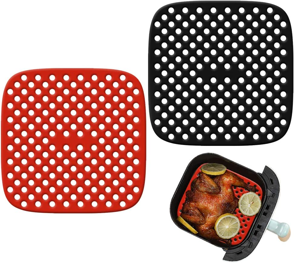 Air Fryer Liners, Reusable Non-Stick Silicone Mats, Square Deep Fryer Parts, Various Air Fryer Accessories for Kitchen Making Food (8.5inch)