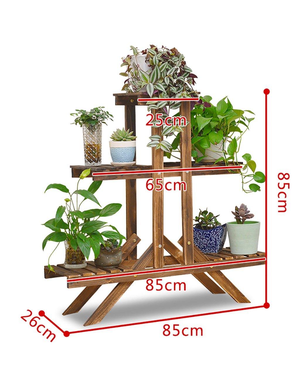 LB Moderne  Holz einfach Mehrschichtige Blume Montage Blume Boden Blumentopf Regal Balkon Wohnzimmer Innenraum Blume (3 Arten von Stilen verfügbar) Montage Blumentopf Regal ( farbe : F )
