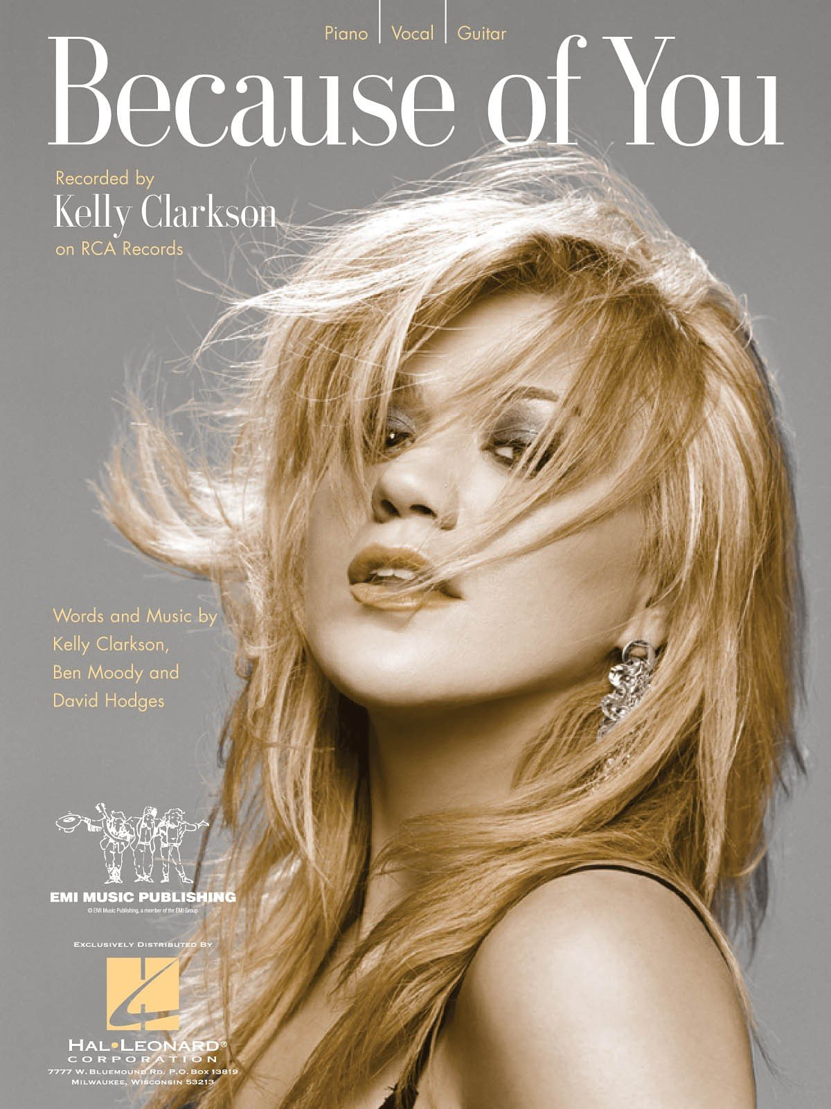 Kelly Clarkson Because Of You Sheet Music Piano Vocal