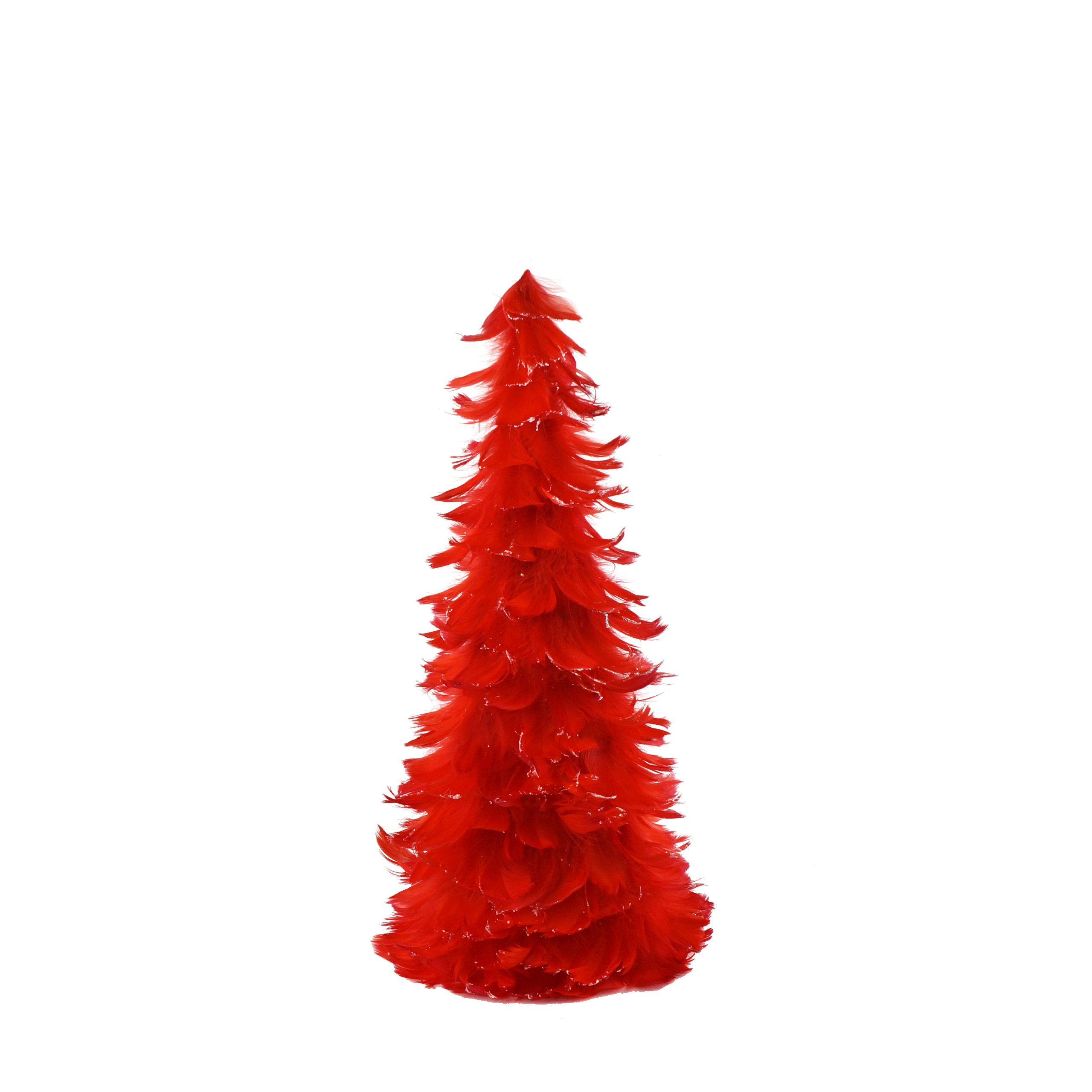 Zucker Tipped Coquille Feather Christmas Tree - Red/Opal Lurex - 18''