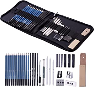 H & B Sketching Pencils Set, 32-Piece Drawing Pencils and Sketch Kit, Complete Artist Kit Includes Graphite Pencils, Pastel Stick, Sharpener & Eraser, Professional Sketch Pencils Set for Drawing