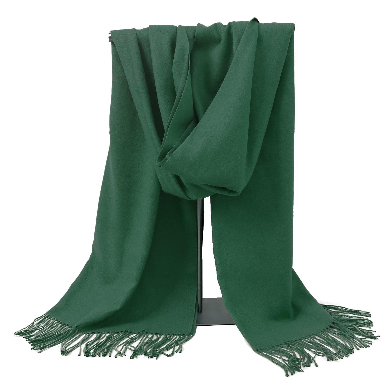 Valentine's Day Gift LERDU Ladies Gift Idea Cashmere Scarf Fashion Warm Wool Wrap Shawl Winter Stole for Women Green