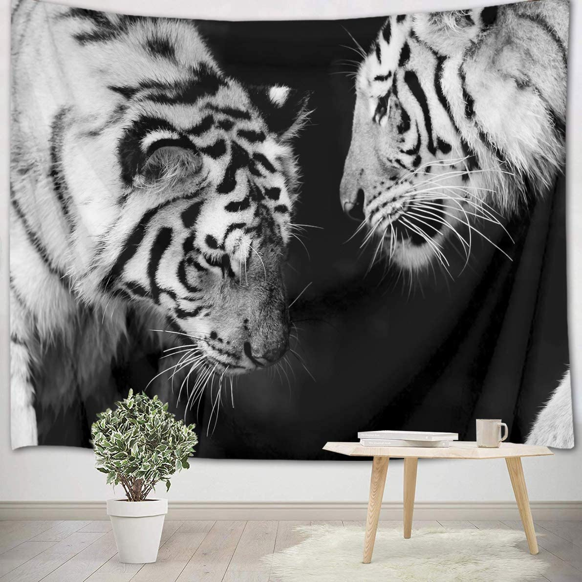 LB White Tiger Tapestry Wall Hanging Love Theme Couple Tigers Colesed Art Print Wild Animal Tapestry for Kids Bedroom Living Dining Room College Dorm Home Decor 93 Wx71 L,Black