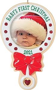Hallmark Keepsake Christmas Ornament, Year Dated 2021, Baby's First Christmas Photo Frame