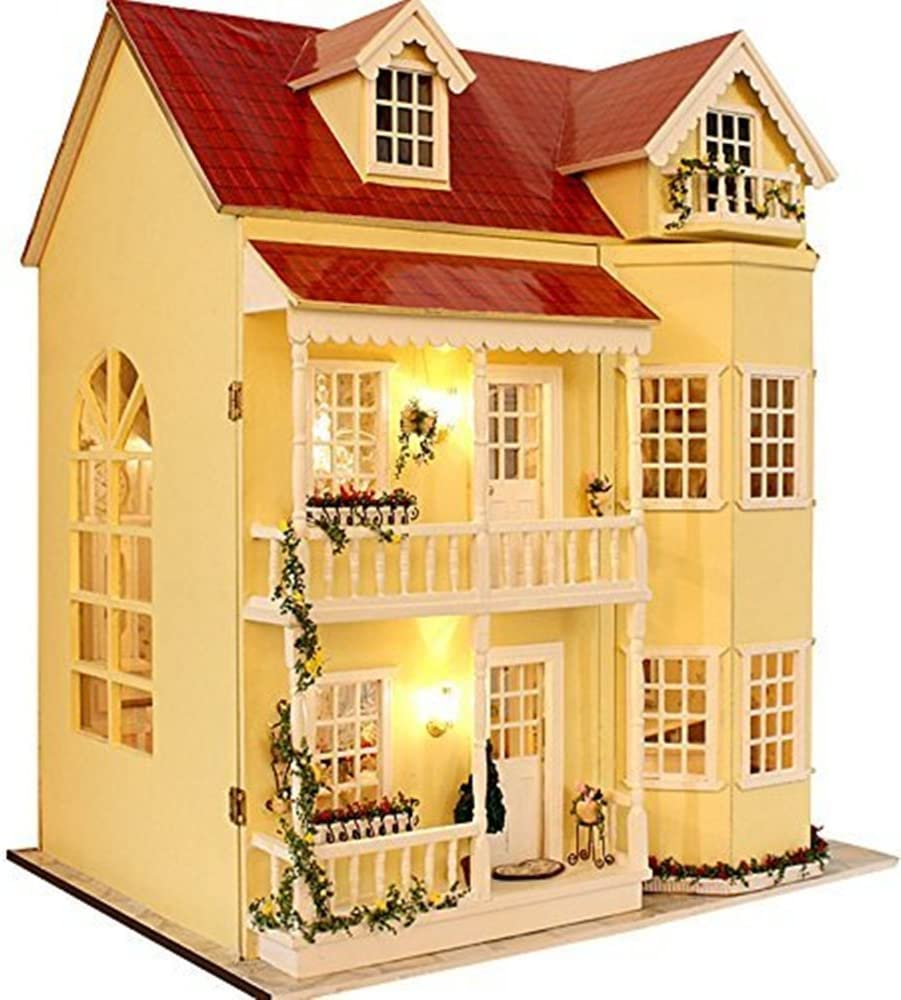 Flever Dollhouse Miniature DIY House Kit Manual Creative with Furniture for Romantic Artwork Gift-Great Villa (Fairy Homeland)