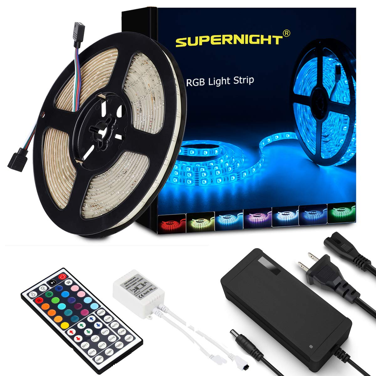 SUPERNIGHT LED Strip Lights, 16.4Ft RGB Color Changing SMD5050 300 LEDs Flexible Light Strip Waterproof Kit with 44 Key Remote Controller and 12V 5A Power Supply by SUPERNIGHT
