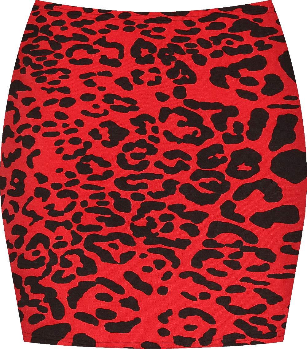 WearAll Women's Print Mini Skirt - Red Leopard - 4-6