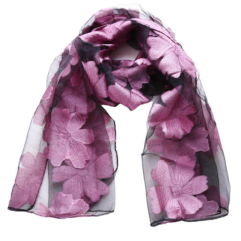 Yesiidor Organza Scarves Ladies Women's Fashion Flower Print Long Scarves Floral Organza Neck Scarf Shawl Wrap