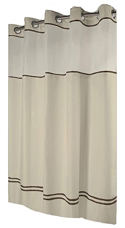 Hookless HBH40ES221 Escape Shower Curtain With Snap In Liner Sand Brown Stripe