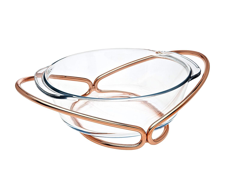 オーブンテーブル用ガラス ラウンドベーカー ウォーマー 編み込み銅ベース   B07J5NJJXQ