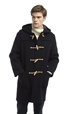 Mens Duffle Coat Wooden Toggles -- Navy: Amazon.co.uk: Clothing
