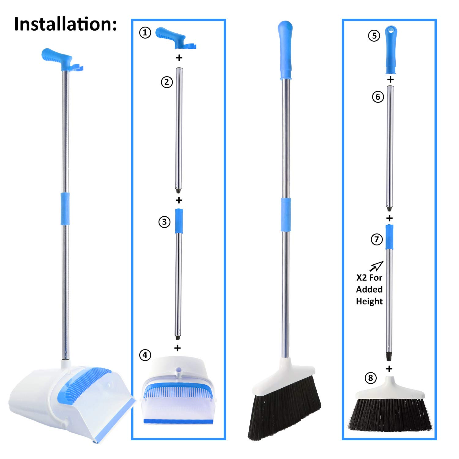 Broom and Dustpan Set - Strongest 30% Heavier Duty - Upright Standing Dust Pan with Extendable Broomstick for Easy Sweeping - Easy Assembly Great Use for Home, Office, Kitchen, Lobby Etc.- by Kray by Kray (Image #4)