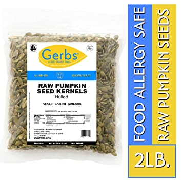 Raw Pumpkin Seed Kernels, 2 LBS by Gerbs – Top 14 Food Allergy Free & NON  GMO - Vegan, Keto Safe &