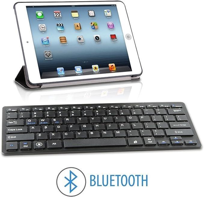 Teclado con Bluetooth 3.0 Universal Compatible con Android iOS iPad Tablet Samung Huawei BQ Xiaomi LG Sony Smartphone iPhone Windows PC color Negro Negra Envío Urgente: Amazon.es: Electrónica
