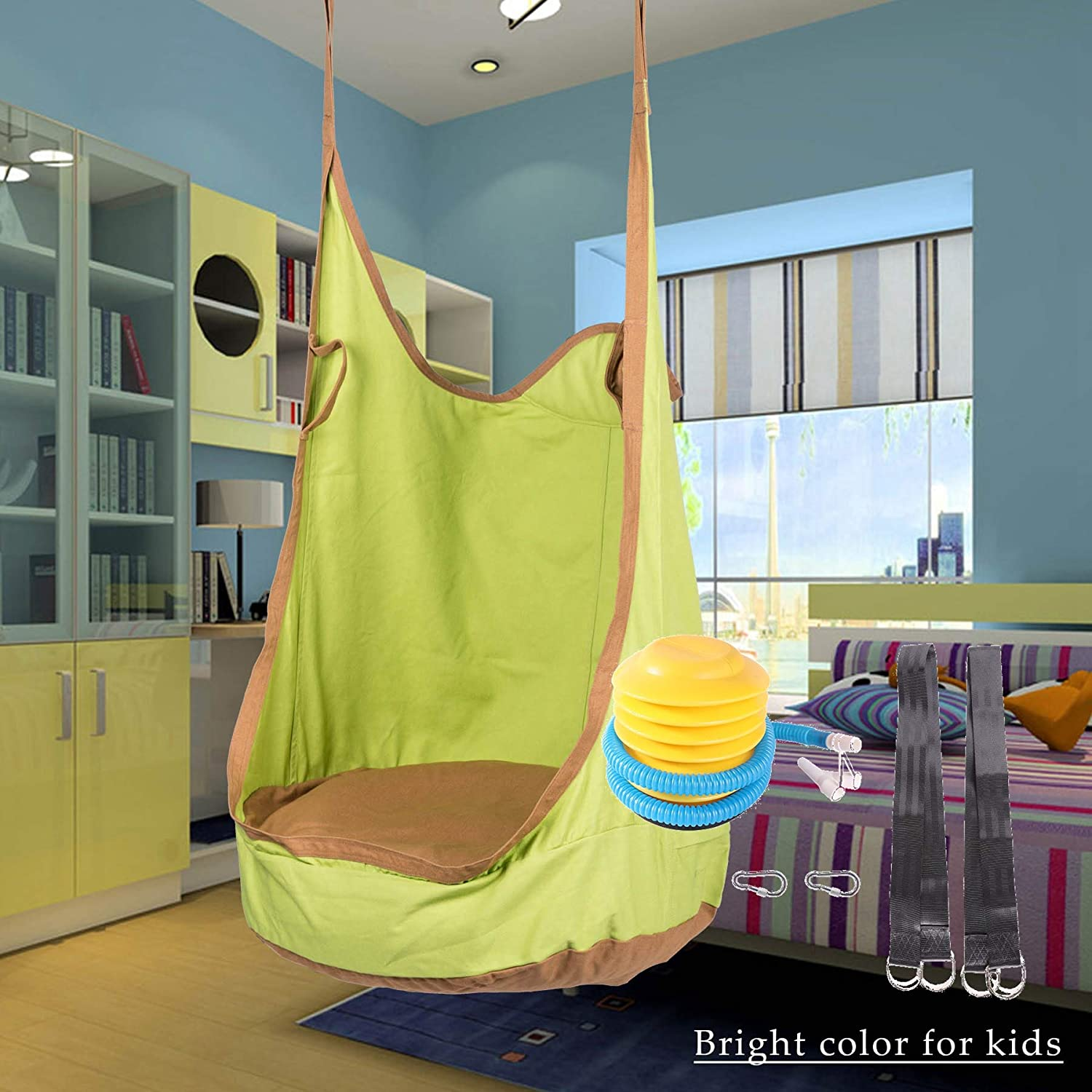 CO-Z Kids Pod Swing Seat Child Hanging Hammock Chair Indoor Outdoor Kid Hammock Seat Pod Nook Upgraded Two Straps, Pink