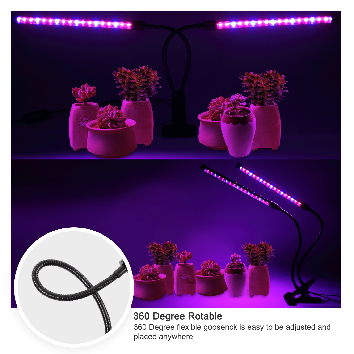 Ankace GrowLight [2018 Upgraded Version] 18W Dual Head Timing 36 LED 5 Dimmable Levels Grow Lights for Indoor Plants with Red/Blue Spectrum, Adjustable Gooseneck, 3/6/12H Timer, 3 Switch Modes by Ankace (Image #3)