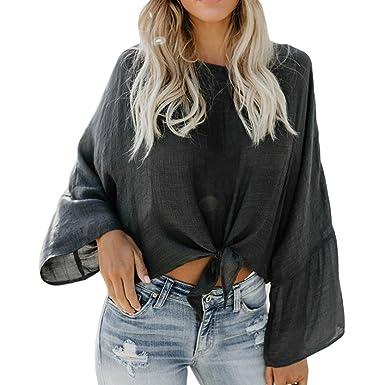 e89161f2d7f5b1 Knotted Crop Tops for Women Long Sleeve See Through Tee Shirt Linen High  Neck Blouse