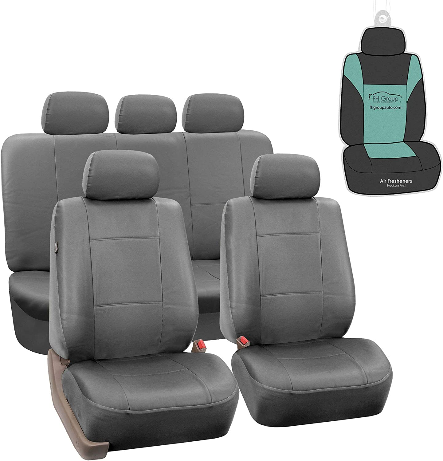 FH Group PU002115 Premium PU Leather Seat Covers (Gray) Full Set with Gift – Universal Fit for Cars Trucks and SUVs