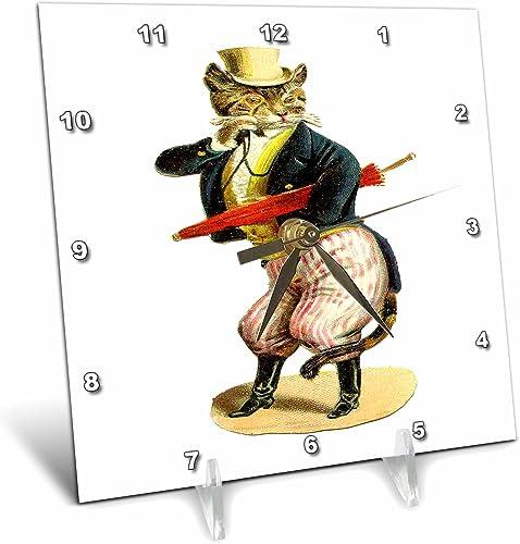 3dRose dc_80349_1 Cat in A Top Hat-Desk Clock, 6 by 6-Inch