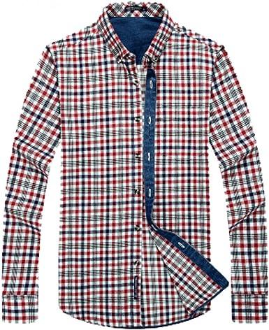 Nuevo botón para Hombre Camisas de Franela Caliente más Gruesa de Terciopelo Tela Escocesa de la Solapa de la Camisa de Manga Larga Regular Fit, Rojo, M: Amazon.es: Ropa y accesorios