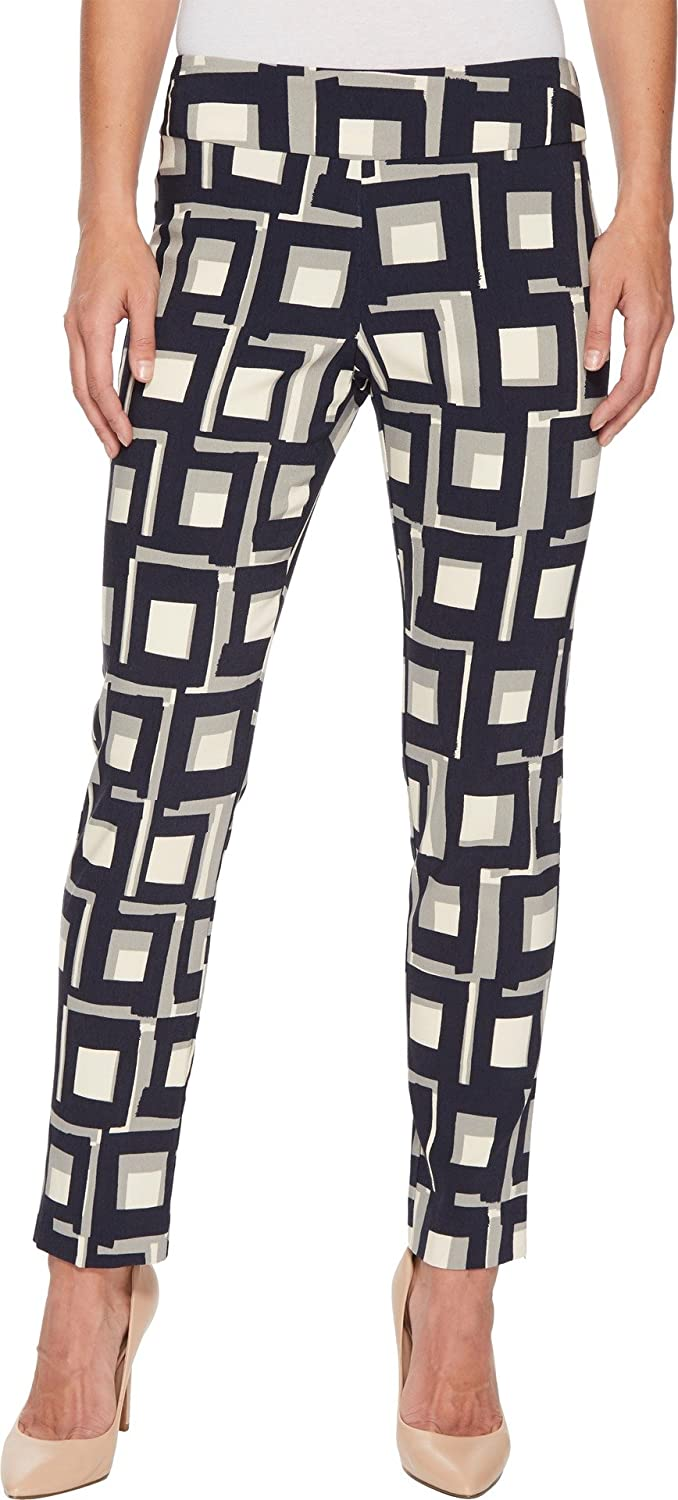 Navy Squares Krazy Larry Women's Pull On Ankle Pant